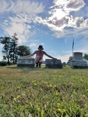 At the gravesite of newly discovered ancestors in Pennsyvania